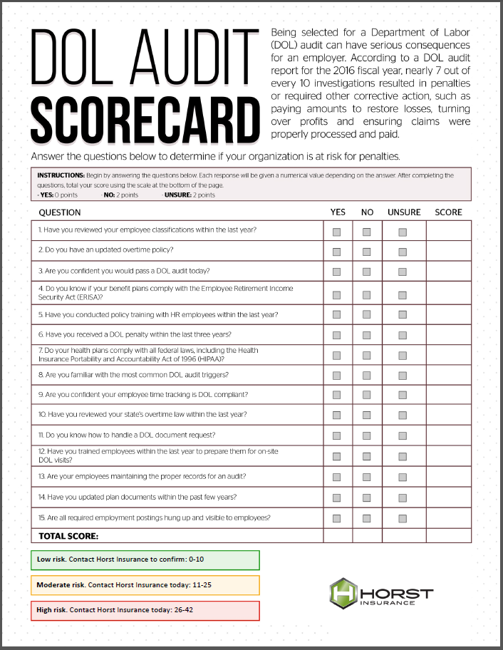 insurance, horst insurance, DOL Audit Scorecard, DOL audit