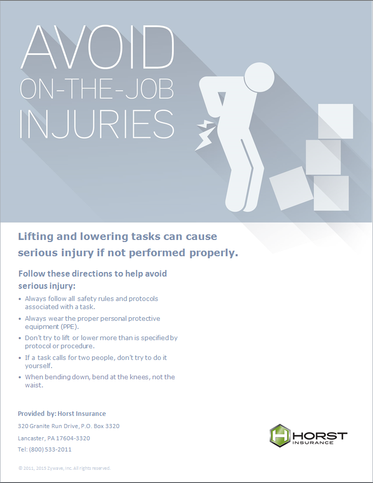 insurance, horst insurance, lifting and lowering, workplace injuries, prevention