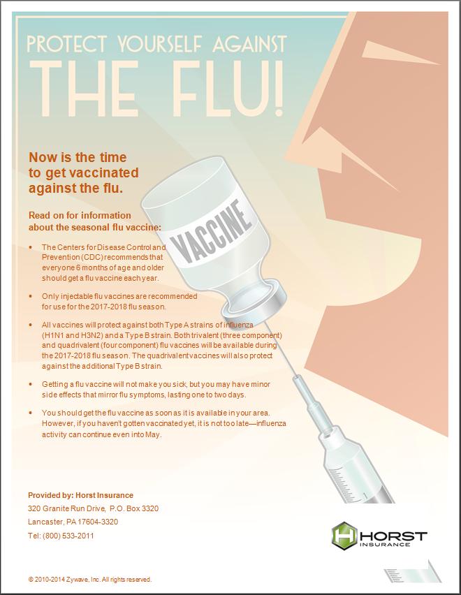 insurance, horst insurance, seasonal flu, seasonal flu prevention, office poster