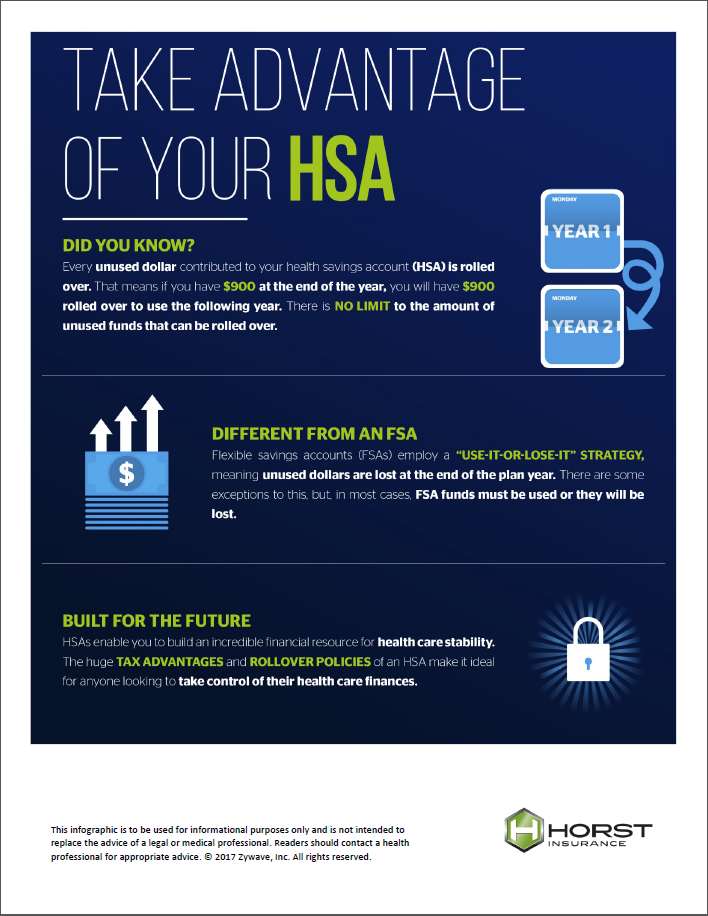 insurance, horst insurance, take advantage of your hsa, infographic