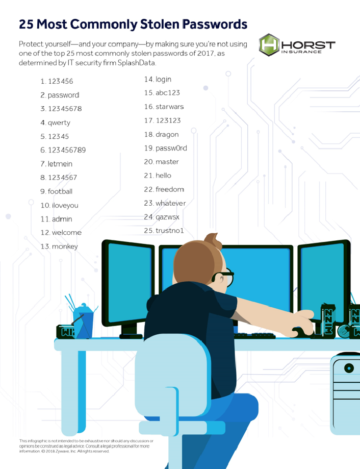 insurance, horst insurance, infographic, poster, 25 most commonly stolen passwords, password, identity theft, cyber security
