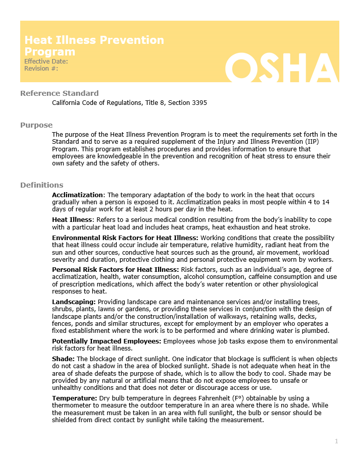 insurance, horst insurance, heat injury and illness, prevention program, sample guide, OSHA