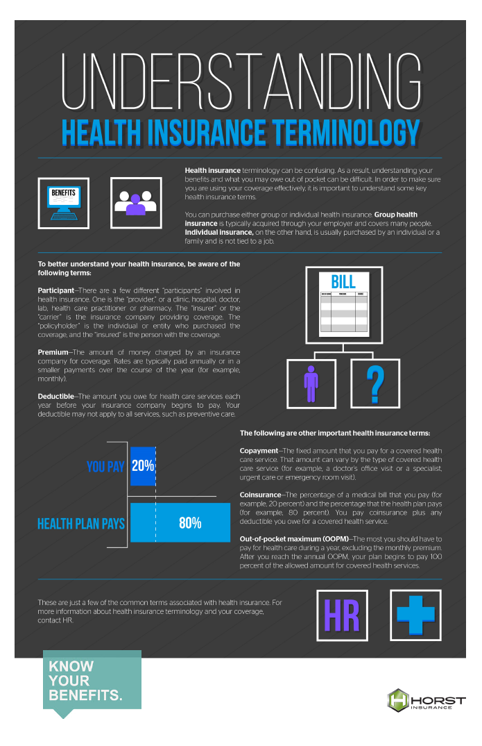 insurance, horst insurnace, health insurance, health insurance terms, health insurance infographic