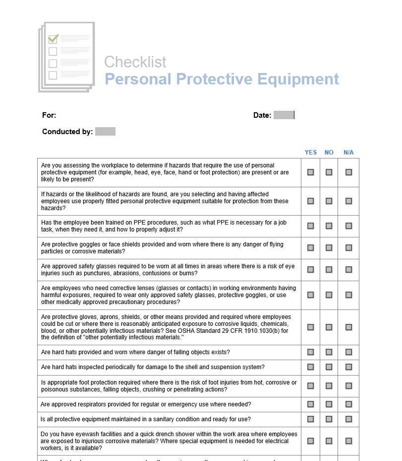 insurance, horst insurance, ppe, personal protective equipment, checklist, human resources