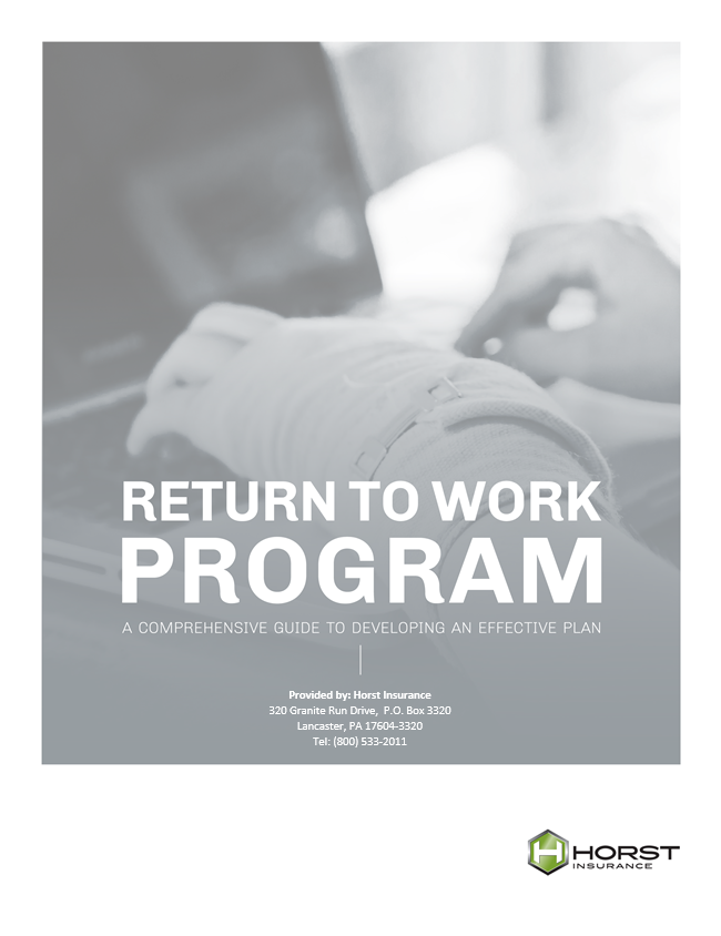 insurance, horst insurance, return to work program guide, injury