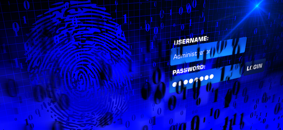 blue thumbprint next to username and password credentials
