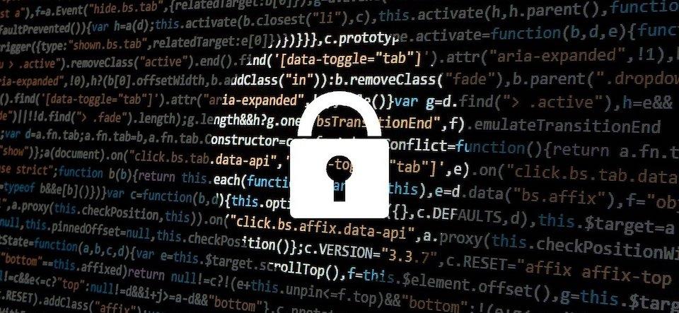 Lock graphic overlaying code