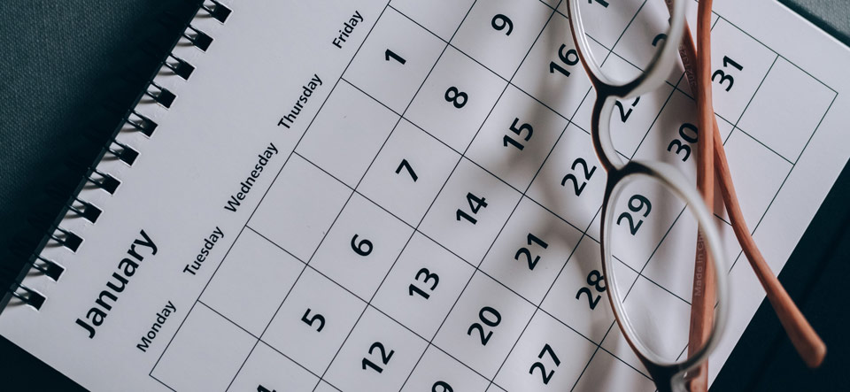 Calendar with reading glasses