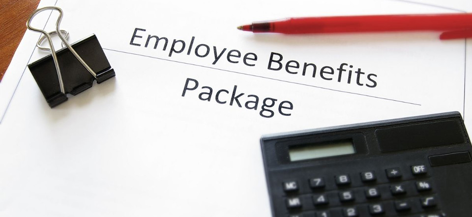 Document that has Employee Benefits Package printed on the front