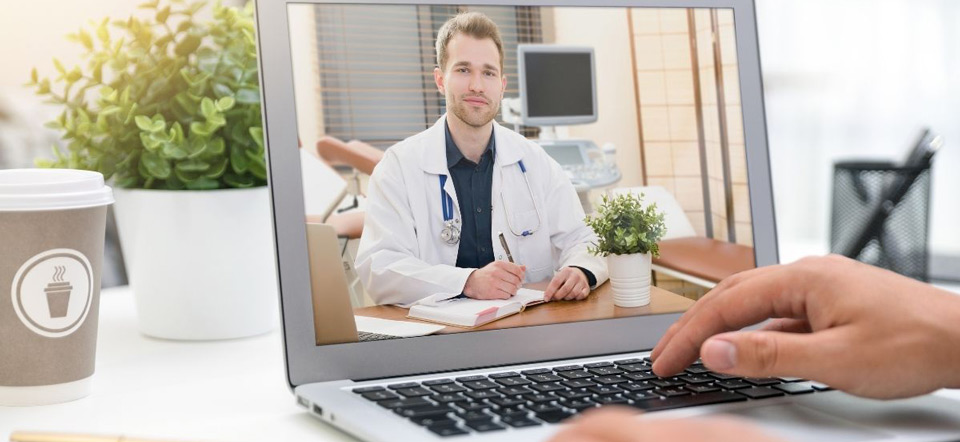 Patient consulting with doctor over the internet