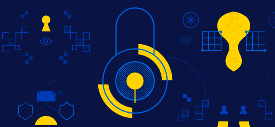 A digital padlock icon and various other line shapes