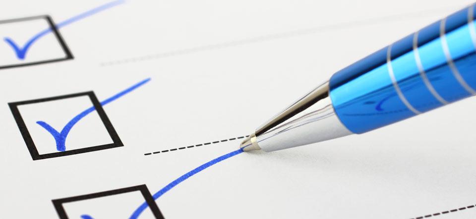 Checklist and pen