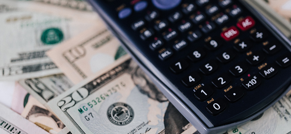 Calculator on top of US dollars