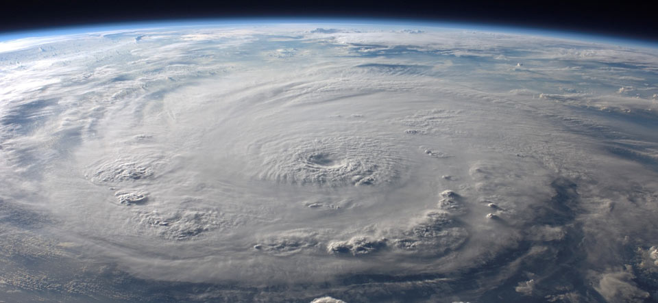Satellite image of a hurricane on Earth